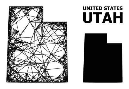 Web vector map of Utah State. Linear frame 2D mesh in vector format, geographic template for economics concepts. map of Utah State are isolated on a white background.