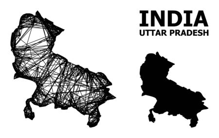 Net vector map of Uttar Pradesh State. Linear carcass flat network in eps vector format, geographic template for patriotic posters. map of Uttar Pradesh State are isolated on a white background.