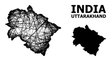 Net vector map of Uttarakhand State. Wire frame 2D network in vector format, geographic template for political compositions. map of Uttarakhand State are isolated on a white background.