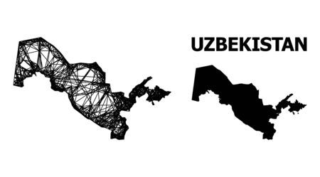 Net vector map of Uzbekistan. Wire frame flat network in eps vector format, geographic template for patriotic illustrations. map of Uzbekistan are isolated on a white background. Illusztráció