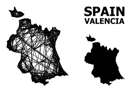 Web vector map of Valencia Province. Linear frame 2D mesh in vector format, geographic model for economical designs. map of Valencia Province are isolated on a white background.