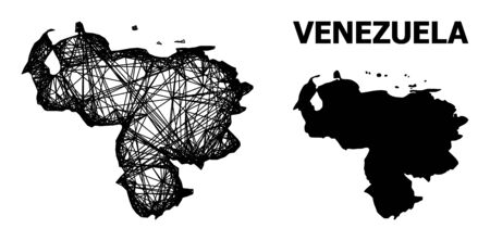 Net vector map of Venezuela. Linear frame 2D mesh in eps vector format, geographic template for economics purposes. map of Venezuela are isolated on a white background. Illusztráció