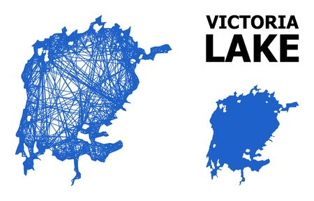 Net vector map of Victoria Lake. Linear frame 2D network in vector format, geographic template for economical illustrations. map of Victoria Lake are isolated on a white background.
