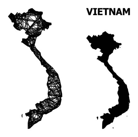 Web vector map of Vietnam. Wire carcass flat mesh in vector EPS format, geographic model for economics posters. map of Vietnam are isolated on a white background.