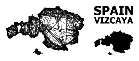 Net vector map of Vizcaya Province. Linear frame 2D mesh in vector format, geographic model for economical illustrations. map of Vizcaya Province are isolated on a white background.