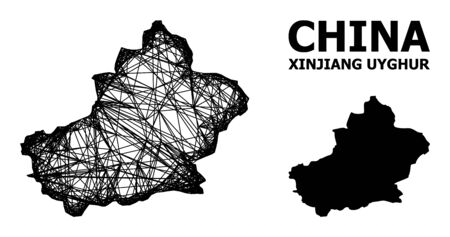 Net vector map of Xinjiang Uyghur Region. Linear frame flat network in eps vector format, geographic template for political concepts. map of Xinjiang Uyghur Region are isolated on a white background. Illusztráció