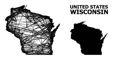 Net vector map of Wisconsin State. Wire carcass 2D mesh in vector EPS format, geographic template for economics designs. map of Wisconsin State are isolated on a white background.
