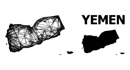 Web vector map of Yemen. Wire carcass 2D mesh in vector format, geographic template for economics concepts. map of Yemen are isolated on a white background.