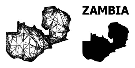 Web vector map of Zambia. Wire frame 2D network in eps vector format, geographic model for patriotic concepts. map of Zambia are isolated on a white background.