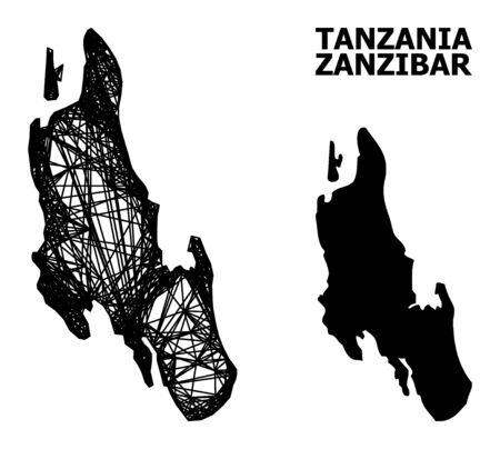 Net vector map of Zanzibar Island. Linear carcass 2D mesh in vector format, geographic model for educational concepts. map of Zanzibar Island are isolated on a white background.