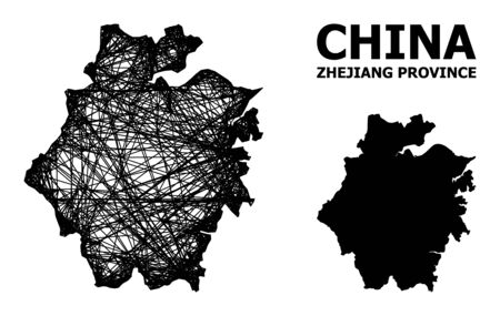 Net vector map of Zhejiang Province. Linear carcass flat mesh in vector EPS format, geographic model for economics illustrations. map of Zhejiang Province are isolated on a white background. Illusztráció