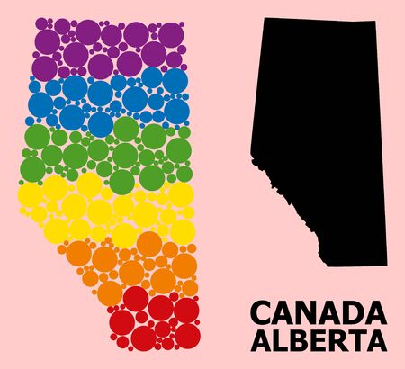 Rainbow colored collage vector map of Alberta Province for LGBT, and black version. Geographic concept map of Alberta Province is organized from randomized circle elements.