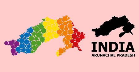 Spectrum colored collage vector map of Arunachal Pradesh State for LGBT, and black version. Geographic collage map of Arunachal Pradesh State is composed from random circle dots.