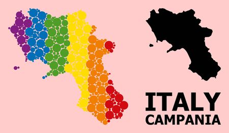 Rainbow colored mosaic vector map of Campania region for LGBT, and black version. Geographic concept map of Campania region is combined from scattered round spheric dots.