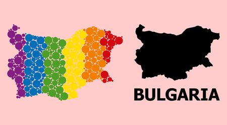 Rainbow colored collage vector map of Bulgaria for LGBT, and black version. Geographic composition map of Bulgaria is composed from random circle dots.