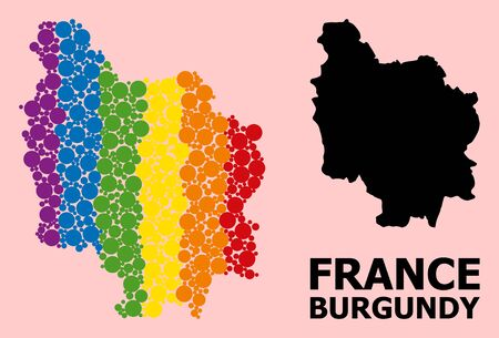 Rainbow vibrant collage vector map of Burgundy Province for LGBT, and black version. Geographic collage map of Burgundy Province is combined from scattered circle elements.
