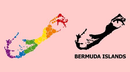 Spectrum vibrant mosaic vector map of Bermuda Islands for LGBT, and black version. Geographic mosaic map of Bermuda Islands is composed with randomized round spheric dots.
