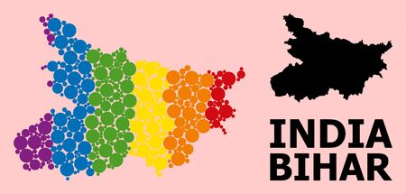 Spectrum vibrant mosaic vector map of Bihar State for LGBT, and black version. Geographic concept map of Bihar State is organized from scattered round spheric spots.