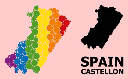 Rainbow colored mosaic vector map of Castellon Province for LGBT, and black version. Geographic mosaic map of Castellon Province is composed with scattered round spheric spots.