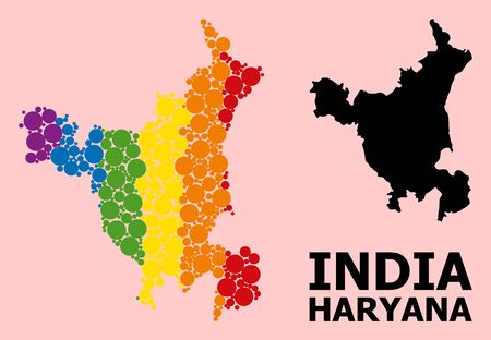 Spectrum colored collage vector map of Haryana State for LGBT, and black version. Geographic collage map of Haryana State is created from scattered round spheric elements.
