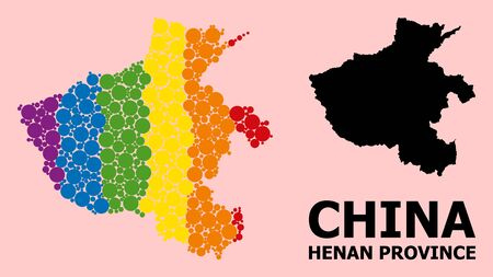 Spectrum vibrant collage vector map of Henan Province for LGBT, and black version. Geographic concept map of Henan Province is composed with random round spheric dots.