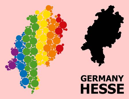 Spectrum vibrant collage vector map of Hesse State for LGBT, and black version. Geographic collage map of Hesse State is done with random circle dots.