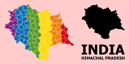 Spectrum vibrant collage vector map of Himachal Pradesh State for LGBT, and black version. Geographic concept map of Himachal Pradesh State is combined with random round spheric spots.