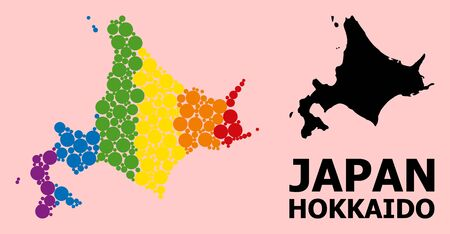 Rainbow vibrant collage vector map of Hokkaido Island for LGBT, and black version. Geographic collage map of Hokkaido Island is created from random round spheric spots.
