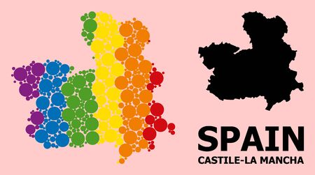 Spectrum vibrant mosaic vector map of Castile-La Mancha Province for LGBT, and black version. Geographic concept map of Castile-La Mancha Province is designed from scattered circle dots.