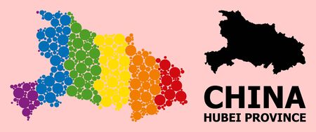 Spectrum colored mosaic vector map of Hubei Province for LGBT, and black version. Geographic concept map of Hubei Province is constructed from random circle dots.