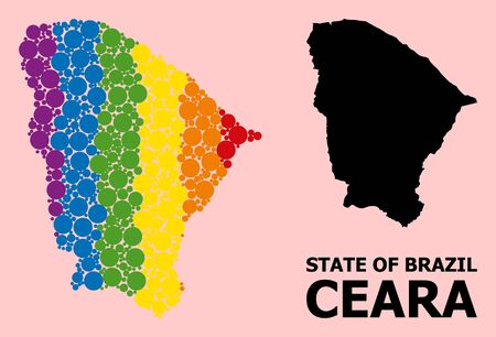 Spectrum vibrant mosaic vector map of Ceara state for LGBT, and black version. Geographic mosaic map of Ceara state is combined with scattered circle elements.