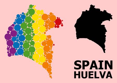 Spectrum vibrant mosaic vector map of Huelva Province for LGBT, and black version. Geographic concept map of Huelva Province is combined from random circle elements.