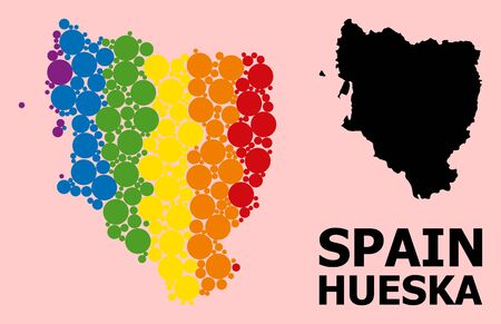 Rainbow vibrant mosaic vector map of Hueska Province for LGBT, and black version. Geographic mosaic map of Hueska Province is designed with randomized round spheric elements.