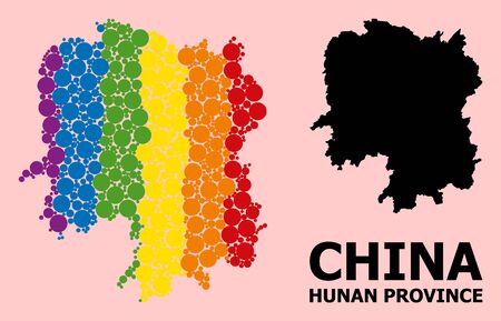 Rainbow colored collage vector map of Hunan Province for LGBT, and black version. Geographic collage map of Hunan Province is designed with scattered round spheric elements.
