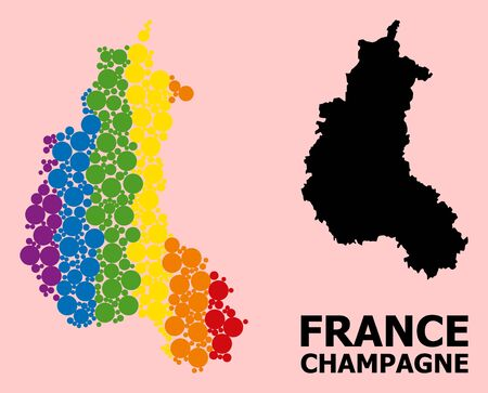 Spectrum vibrant mosaic vector map of Champagne Province for LGBT, and black version. Geographic concept map of Champagne Province is combined with random round spheric elements. Vectores