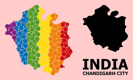 Rainbow vibrant collage vector map of Chandigarh City for LGBT, and black version. Geographic concept map of Chandigarh City is combined from random round spheric elements.