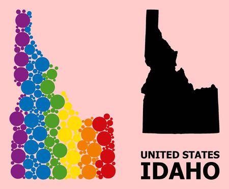 Spectrum colored pattern vector map of Idaho State for LGBT, and black version. Geographic collage map of Idaho State is done from scattered circle elements.