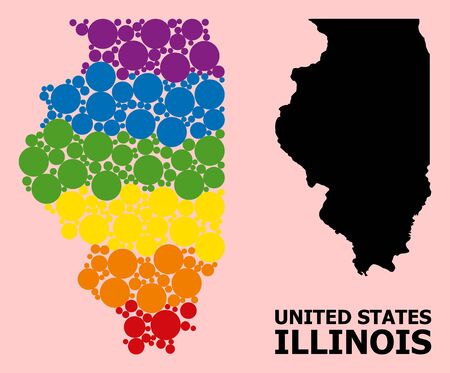 Rainbow vibrant mosaic vector map of Illinois State for LGBT, and black version. Geographic mosaic map of Illinois State is created with scattered round spheric elements.