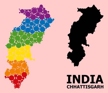 Rainbow vibrant mosaic vector map of Chhattisgarh State for LGBT, and black version. Geographic mosaic map of Chhattisgarh State is done with randomized circle elements.  イラスト・ベクター素材