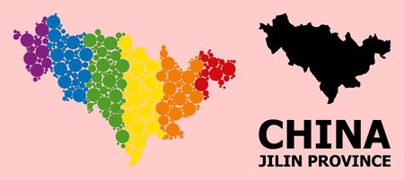 Spectrum colored mosaic vector map of Jilin Province for LGBT, and black version. Geographic mosaic map of Jilin Province is created with random round spheric dots. Çizim
