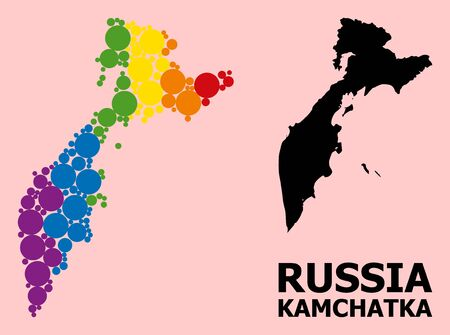 Spectrum vibrant collage vector map of Kamchatka Peninsula for LGBT, and black version. Geographic collage map of Kamchatka Peninsula is constructed with scattered round spheric dots.