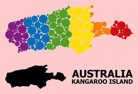 Spectrum colored mosaic vector map of Kangaroo Island for LGBT, and black version. Geographic mosaic map of Kangaroo Island is constructed with randomized circle elements.