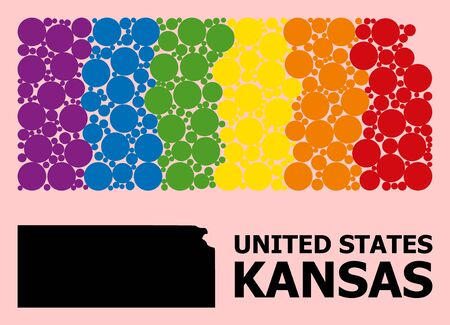 Spectrum vibrant mosaic vector map of Kansas State for LGBT, and black version. Geographic concept map of Kansas State is done from scattered round spheric dots.