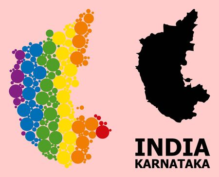 Spectrum colored mosaic vector map of Karnataka State for LGBT, and black version. Geographic mosaic map of Karnataka State is created from randomized round spheric spots.