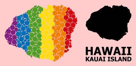 Rainbow vibrant mosaic vector map of Kauai Island for LGBT, and black version. Geographic mosaic map of Kauai Island is organized from random circle dots. Çizim