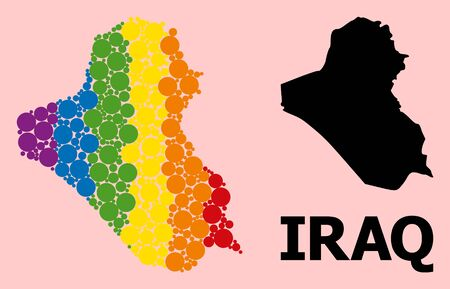 Spectrum colored collage vector map of Iraq for LGBT, and black version. Geographic collage map of Iraq is created from scattered round spheric elements.