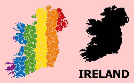 Spectrum colored collage vector map of Ireland Island for LGBT, and black version. Geographic concept map of Ireland Island is designed from random round spheric dots.