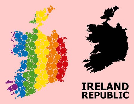 Spectrum vibrant pattern vector map of Ireland Republic for LGBT, and black version. Geographic concept map of Ireland Republic is composed from random circle elements. Illustration
