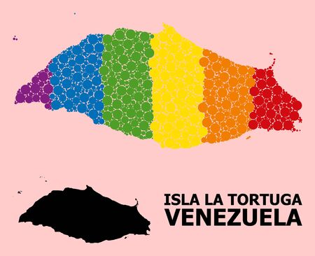 Rainbow vibrant collage vector map of Isla La Tortuga for LGBT, and black version. Geographic collage map of Isla La Tortuga is constructed with randomized circle dots.