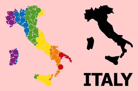 Rainbow colored mosaic vector map of Italy for LGBT, and black version. Geographic mosaic map of Italy is constructed with randomized circle dots.